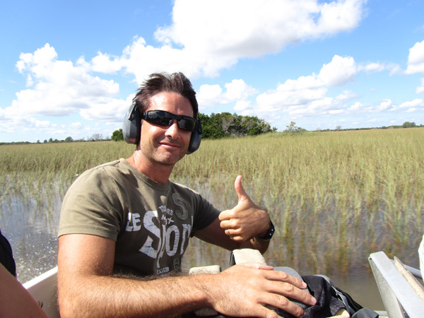 on an airboat